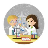 De gelukkige Klasgenoten maken Experimenten in laboratorium N stock illustratie
