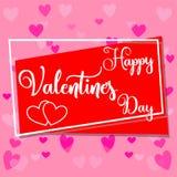De gelukkige kleurrijke affiche van de valentijnskaarts dag, kader, harten Stock Afbeelding