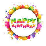 De gelukkige Kleurrijke Kaart van de Verjaardag met Ballons Royalty-vrije Stock Afbeeldingen