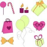 De gelukkige kleurrijke reeks van verjaardagselementen stock illustratie