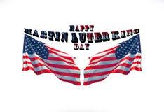 De gelukkige koning van Martin luther jr dag met twee Amerikaanse die vlaggen als achtergrond worden gebruikt royalty-vrije stock foto