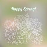De gelukkige Lente is hier de Kaart van de Krabbelbloem, Vectorillustratie Stock Afbeeldingen