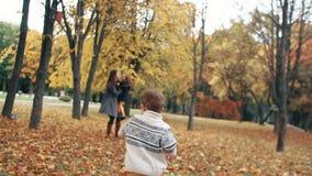 De gelukkige leuke broer en de zuster een klein jongen en een meisje nemen aan zijn moeder door verbazende de herfststeeg in park stock videobeelden
