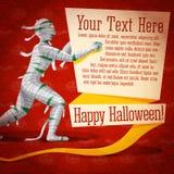 De gelukkige leuke retro banner van Halloween op ambachtdocument vector illustratie