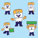 De gelukkige Leuke Vierkante Mascotte stelt Royalty-vrije Stock Fotografie