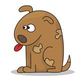 De gelukkige leuke zitting van het beeldverhaalpuppy, weinig hond Stock Foto