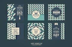 De gelukkige malplaatjes van de Vaders Dag in Retro Stijl stock illustratie