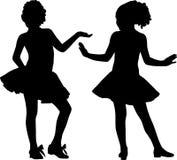 De gelukkige meisjes van het silhouet Royalty-vrije Stock Fotografie