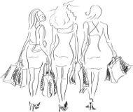 De gelukkige meisjes van Shoping Stock Foto