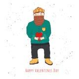 De gelukkige mens van de Valentijnskaartendag met baard in liefde Royalty-vrije Stock Afbeeldingen