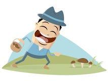 De gelukkige mens vindt paddestoelen royalty-vrije stock afbeelding