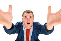 De gelukkige mens vraagt god Stock Fotografie