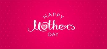 De gelukkige met de hand geschreven inschrijving van de Moeder` s Dag stock illustratie
