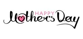 De gelukkige met de hand geschreven inschrijving van de Moeder` s Dag vector illustratie