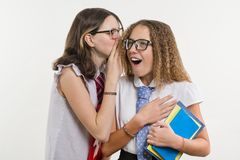 De gelukkige middelbare schoolvrienden zijn tieners, bespreking en geheim stock fotografie