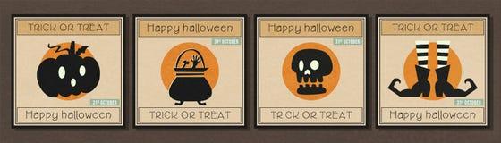 De gelukkige minimale banner van Halloween met Halloween-de reeks van het symboolpictogram Stock Afbeelding