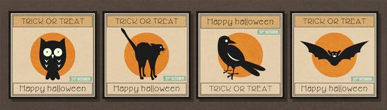 De gelukkige minimale banner van Halloween met Halloween-de reeks van het symboolpictogram Royalty-vrije Stock Afbeelding