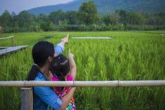 De gelukkige Moeder en haar kind spelen in openlucht het hebben van pret, en het richten bij iets in het Groene padieveld royalty-vrije stock fotografie