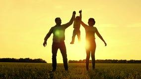 De gelukkige moeder en vaderhand van de holdingsbaby en het oprapen van het bij zonsondergang Het concept een gelukkige familie stock footage
