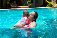 De gelukkige moeder met weinig babydochter zwemt in de pool bij de zomervakantie Zonnige dag keerkringen Zuigeling die rond op le royalty-vrije stock foto
