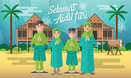 De gelukkige mohammedaanse familie viert voor aidilfitri met met traditionele malay dorpshuis/Kampung en trommel op achtergrond