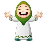 De gelukkige Moslim golvende die hand van het jong geitjebeeldverhaal op witte achtergrond wordt geïsoleerd vector illustratie