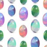 De gelukkige naadloze achtergrond van Pasen 3d Eieren met de samenvatting, driehoekspatroon Royalty-vrije Stock Afbeeldingen