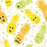De gelukkige naadloze ananasgezichten herhalen patroon Royalty-vrije Stock Afbeelding
