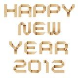 De gelukkige nieuwe Ambacht van het jaar 2012 Gerecycleerde Document Stock Foto's