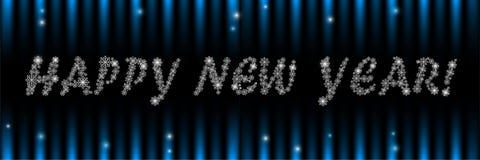 De gelukkige nieuwe banner van de jaargroet met sneeuwvlokken stock fotografie
