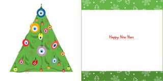 De gelukkige nieuwe boom van de jarenpijnboom met van de oogparel en sneeuwvlok de vector van de groetkaart Stock Foto