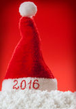 De gelukkige nieuwe hoed van jaar 2016 santa Stock Foto