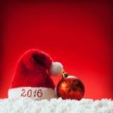 De gelukkige nieuwe hoed van jaar 2016 santa Stock Afbeeldingen