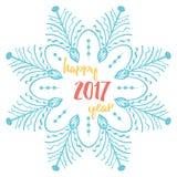 De gelukkige nieuwe kaart van de jaar 2017 groet De vectorachtergronden van de de wintervakantie met tekst en grote sneeuwvlokken Royalty-vrije Stock Foto's