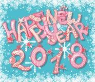 De gelukkige Nieuwe kaart van de het Jaargift van 2018 met hand het van letters voorzien Kleurrijke Kerstmisbrieven Stock Foto