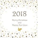 De gelukkige nieuwe kaart van de jaar 2018 groet De sneeuwachtergrond van Kerstmis Stock Afbeeldingen