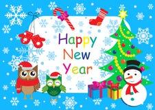De gelukkige nieuwe kaart van de jaargroet, malplaatje, banner met uilen, sneeuwman, Kerstmisboom en sneeuwvlokken Vector illustr royalty-vrije illustratie