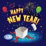De gelukkige nieuwe kaart van de jaargroet met ballons, vuurwerk, giftdoos en confettien Stock Fotografie