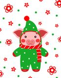De gelukkige nieuwe prentbriefkaar Chinees van het jaar leuke varken stock foto's