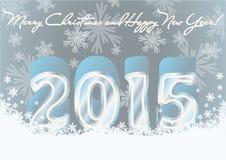 De gelukkige nieuwe prentbriefkaar van de het jaaruitnodiging van 2015 Stock Foto