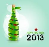 De gelukkige nieuwe van de de wijnfles van het jaar 2013 lint vorm/de Vector illustrat Royalty-vrije Stock Afbeelding