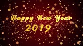 De gelukkige nieuwe van de de kaarttekst van de jaar 2019 groet glanzende deeltjes voor viering, festival stock illustratie