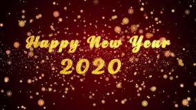 De gelukkige nieuwe van de de kaarttekst van de jaar 2020 groet glanzende deeltjes voor viering, festival royalty-vrije illustratie
