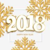 De gelukkige nieuwe witte achtergrond van het jaarontwerp met 2018 en het glanzen gaan stock illustratie