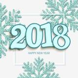 De gelukkige nieuwe witte achtergrond van het jaarontwerp met 2018 en glanzende bl royalty-vrije illustratie
