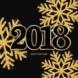 De gelukkige nieuwe zwarte achtergrond van het jaarontwerp met 2018 en het glanzen gol vector illustratie