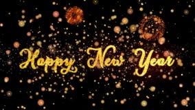 De gelukkige Nieuwjaar Abstracte deeltjes en schitteren de kaarttekst van de vuurwerkgroet vector illustratie