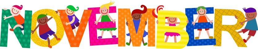 De gelukkige November-Tekst van de Jonge geitjestitel vector illustratie
