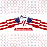 De gelukkige onafhankelijkheid dag de Verenigde Staten van Amerika, vierde van Juli-kaart met Ster, markeert vlak ontwerp royalty-vrije illustratie