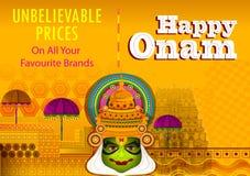 De gelukkige Onam-achtergrond van de de verkoopbevordering van festivalgroeten om het jaarlijkse Hindoese festival van Kerala, In vector illustratie